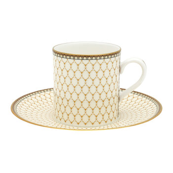 Gordon Castle Antler Trellis Coffee Cup & Saucer - Ivory