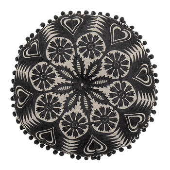 Flower Pattern Cushion - Black