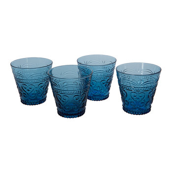 Ornate Glass Tumblers - Set of 4 - Blue