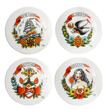 Tattoo Side Plate - Set of 4