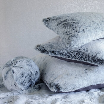 Faux Fur Snowball Cushion - Glacier