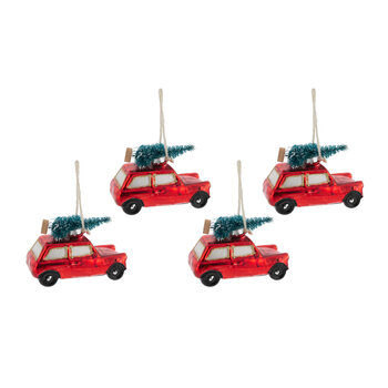 Red Car with Tree on Roof Tree Decoration - Set of 4