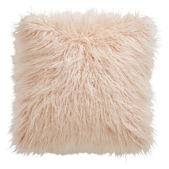 Faux Mongolian Fur Cushion - Blush