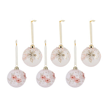 Flower & Lace Baubles - Set of 6 - White/Pink