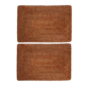Rattan Placemat - Set of 2 - Dark