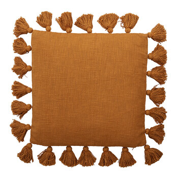 Tassel Trim Cushion - Brown