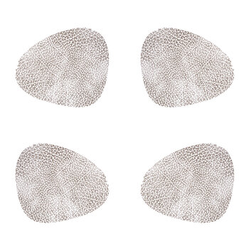 Hippo Curve Drinks Coaster - Set of 4 - White/Gray