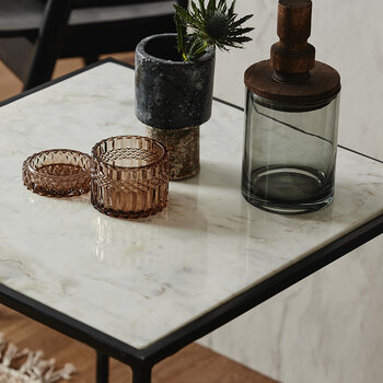 Cube Side Table - White Marble