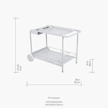 Luxembourg Drinks Trolley - Cotton White