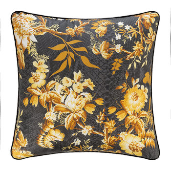 China Birds Silk Cushion - 40x40cm - Gold/Black