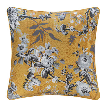 China Birds Silk Cushion - 40x40cm - Silver/Gold