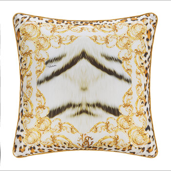 Tiger Frame Silk Cushion - 40x40cm - Gold