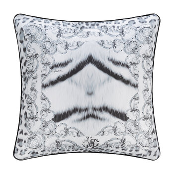 Tiger Frame Silk Cushion - 40x40cm - Silver