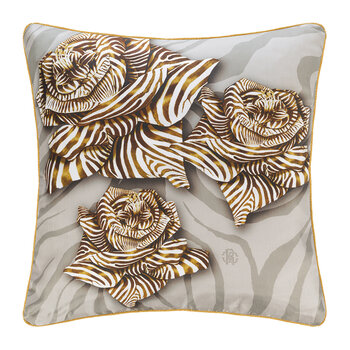 Zebra Rose Silk Cushion - 40x40cm - Sand