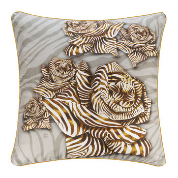 Zebra Rose Silk Cushion - 60x60cm - Sand
