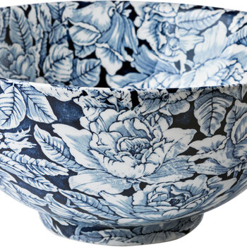 Ink Blue Hibiscus Footed Bowl