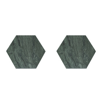Marble Hexagonal Coasters - Set of 2 - Green
