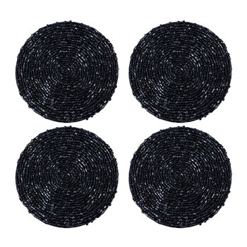 Beaded Coaster - Set of 4 - Black