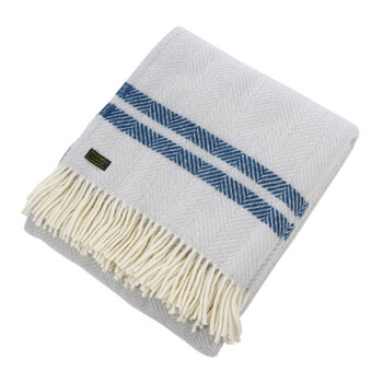 Pure New Wool Fishbone 2 Stripe Throw - Glacier & Ink