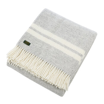Pure New Wool Fishbone 2 Stripe Throw - Silver Gray & Cream