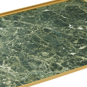 Ribbed Marble Tray with Handles - Green