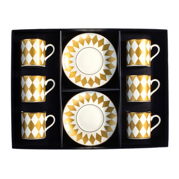 Parterre Coffee Cup & Saucer - Gold - Set of 6