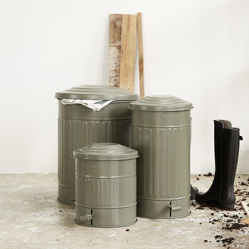 Metal Trash Can - 15L - Army Green