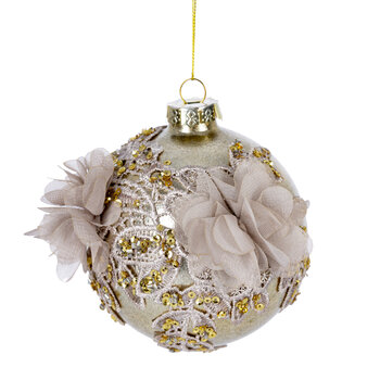 Fabric Floral Bauble - Pink