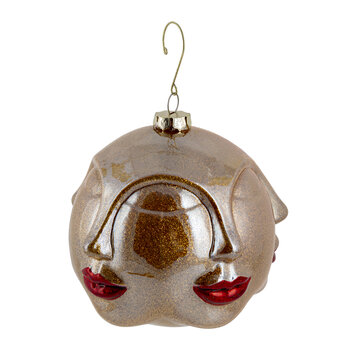 Kiss Face Bauble - Gold