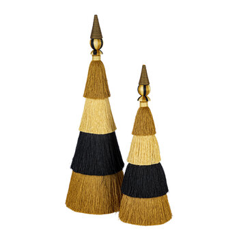 Tassel Layered Tree Ornament - Large - Gold/Black