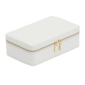 Maria Zip Travel Jewelry Case - White