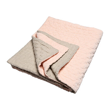 Velvet Linen Bedspread/Quilted Throw - Nude Pink & Natural