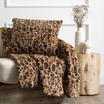 Juno Faux Fur Cushion - Leopard Print - 50x50cm