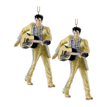 Elvis Tree Decoration - Set of 2 - Gold Suit with Guitar