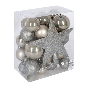 Set of 33 Assorted Baubles and Tree Topper - Misty Grey
