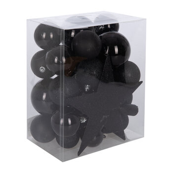 Set of 33 Assorted Baubles and Tree Topper - Black