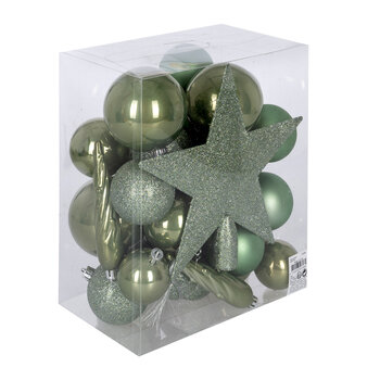 Set of 33 Assorted Baubles and Tree Topper - Sage Green