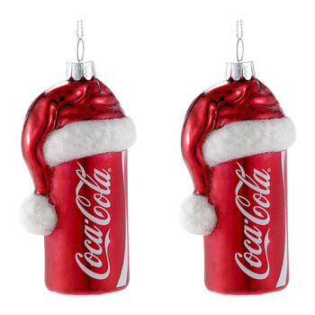 Coca-Cola Can With Santa Hat Glass Tree Decoration - Set of 2