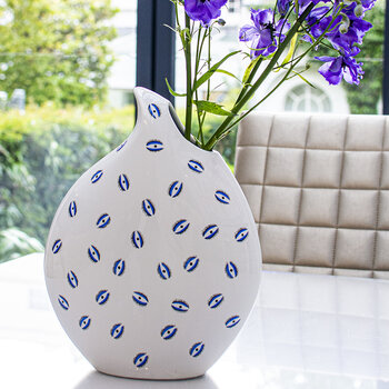 Large Eye Tearshape Ceramic Vase - White