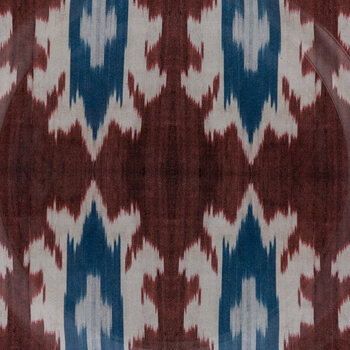 Ceramic Ikat Side Plate - Red/Blue/White