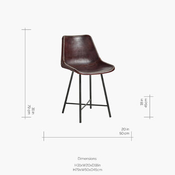 Leather Chair with Iron Legs - Dark Brown