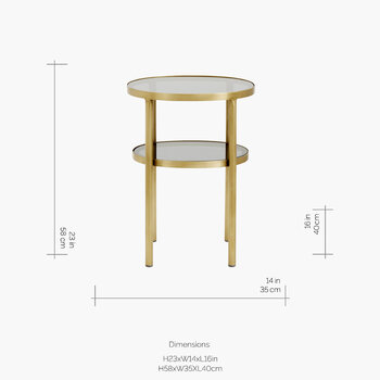 Oval Side Table - Gold/Black