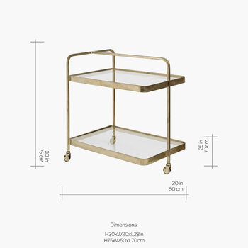 Rectangle Trolley - Brass