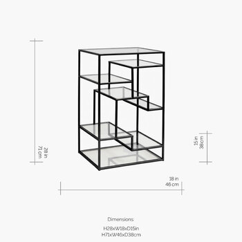 Display Cabinet with Glass Shelves - Black