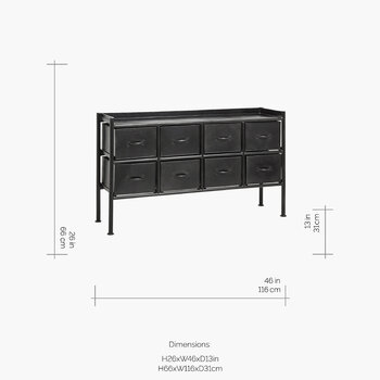 Chest of 8 Iron Drawers - Black