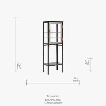 Free Space Glass Cabinet - Grey