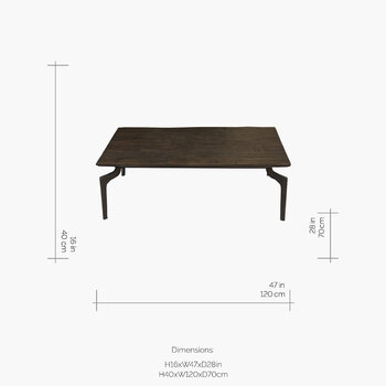 Wooden Coffee Table with Metal Legs
