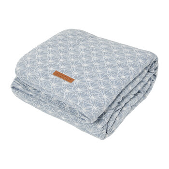 Pure & Soft Cot Blanket - Lily Leaves - Blue