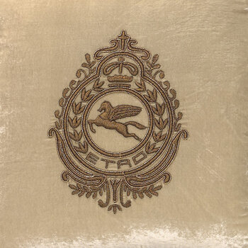 Crest Embroidered Pillow 45x45cm - Gray