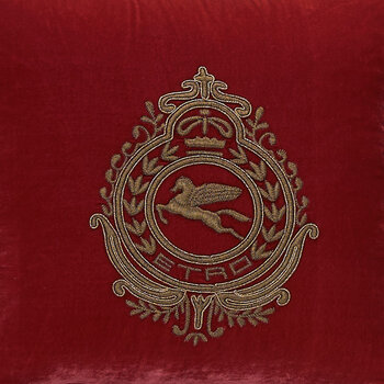 Crest Embroidered Pillow 45x45cm - Red